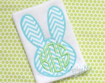 Monogram Bunny Rabbit Digital Applique Design - Easter - Monogram - Easter Applique Design - Easter Embroidery Design - Bunny Applique