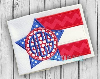 Monogram Flag Applique Design - Independence Day - July 4th - 4th of July - Monogram Flag Embroidery Design - Patriotic - Freedom