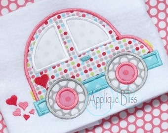 Love Bug Car Digital Applique Design - Valentine's Day - Monogram - Machine Embroidery