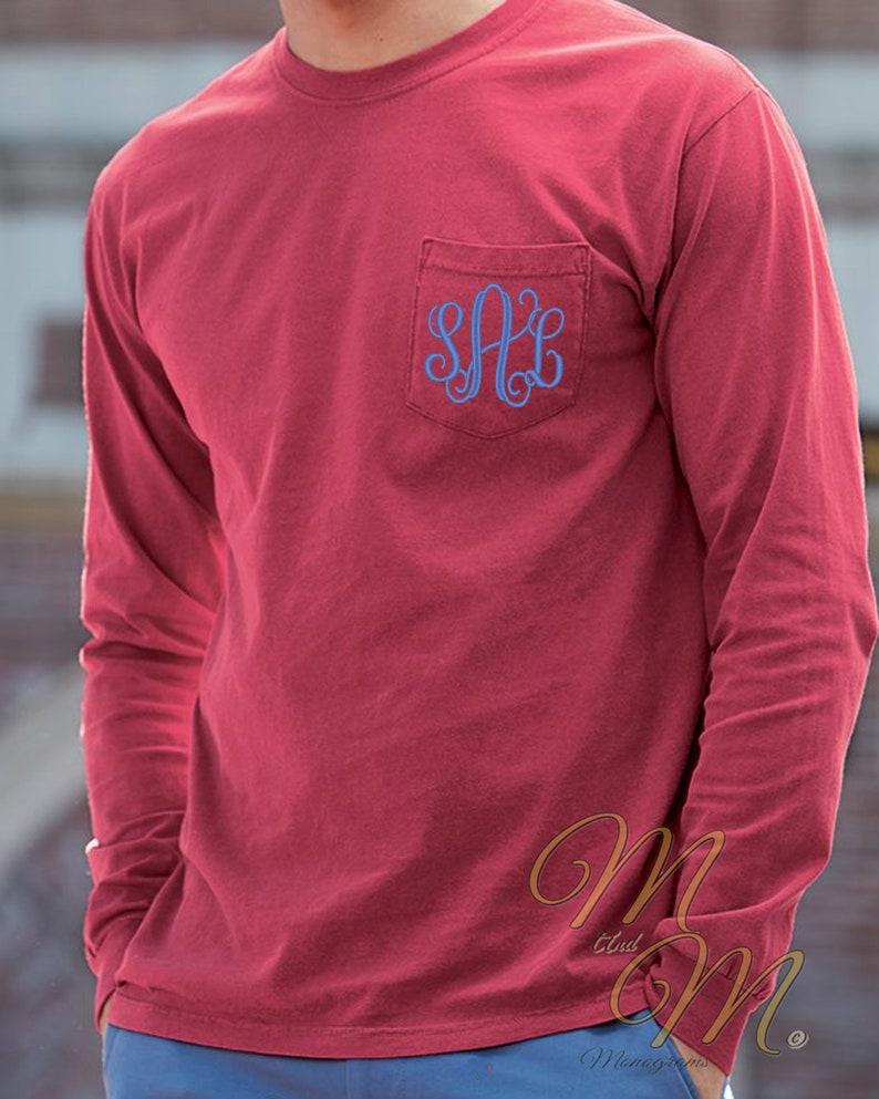4eca9dad9c313 Comfort Colors Pocket T-Shirt Monogram Tee Shirts Long