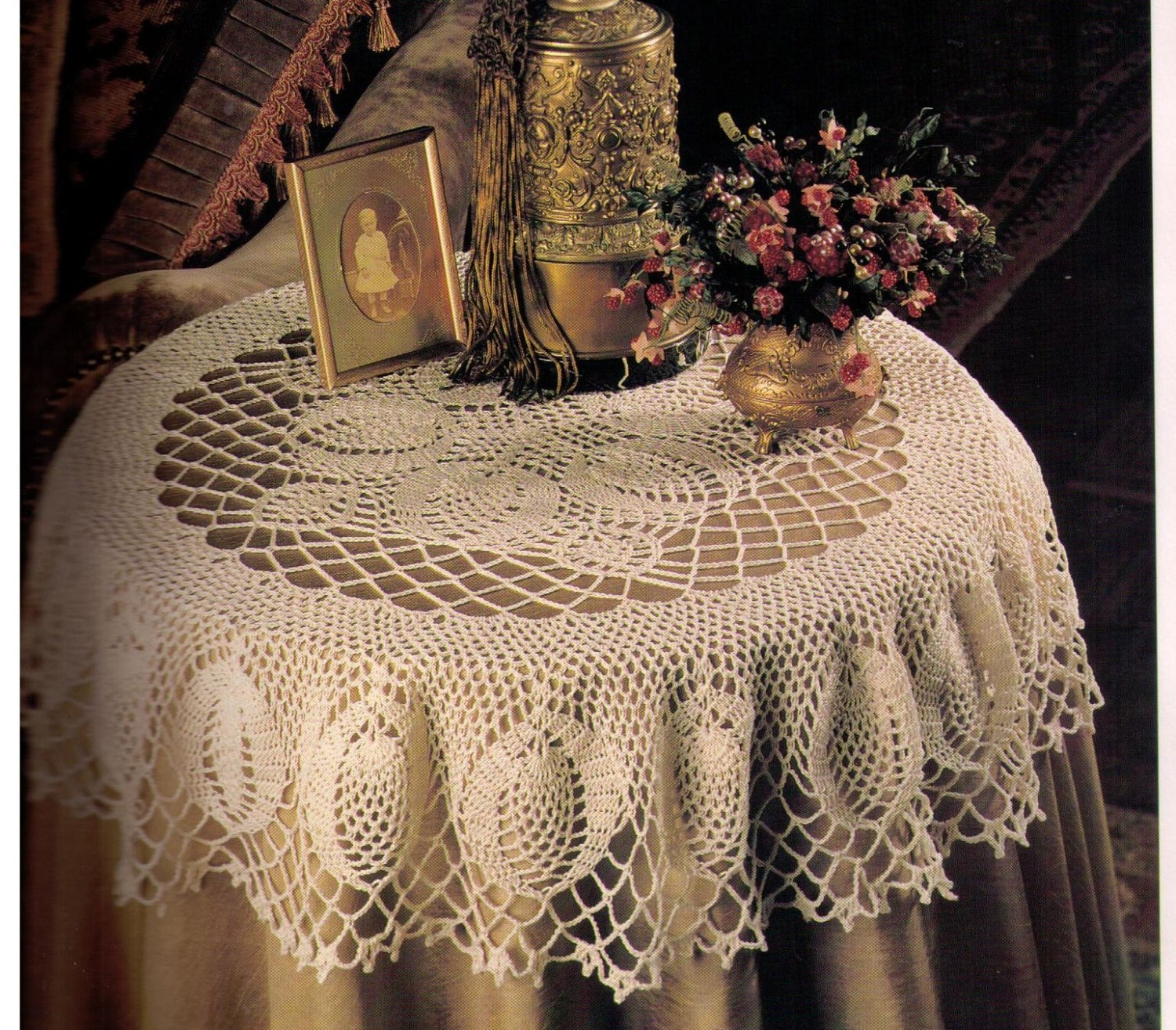 Pdf Crochet Table Topper Round Tablecloth Pattern Doily Etsy