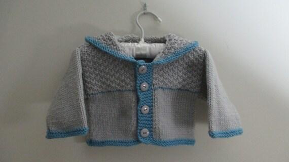 Veste à capuche bébé tricot, pull bébé, 3-6 mois, bébé manteau, pull garçon de bébé, bébé garçon veste