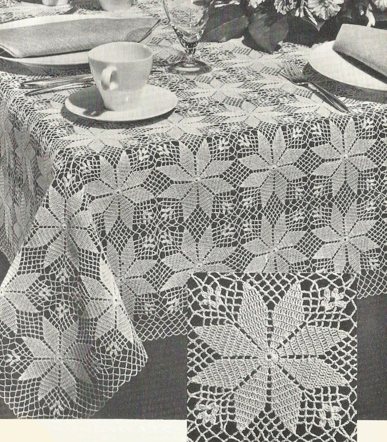 Pdf Crochet Tablecloth Pattern Small Square Or Large Rectangle Etsy