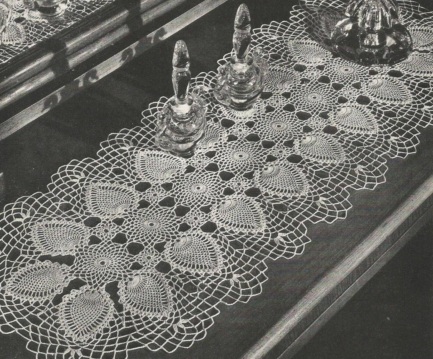 Pdf 3 Pineapple Crochet Patterns Doily Runner Oval Doily Table Etsy