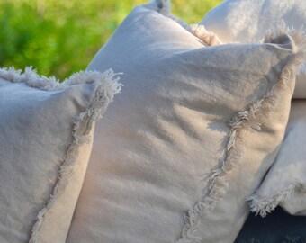 Linen Frayed Pillow Cover, Fringe Pillow, Oatmeal Pillow, Beige Pillow, Decorative Cushion, Throw Pillow, Toss Cushion, Oat Pillow