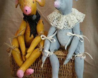 Mouse art doll set, posable mouse dolls, OOAK textile mouse, textile art dolls, home decor, country mouse, town mouse, unique gift