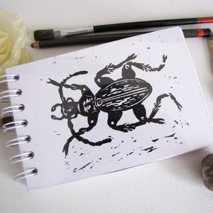 art journal Stag beetle scrapbook album travel journal insect illustration A5 notebook eco friendly recycled paper