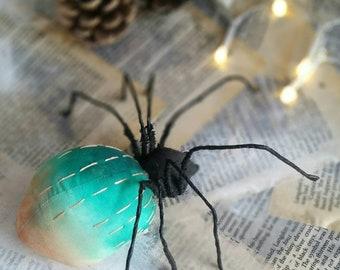 Textile spider, spider wall art, spider sculpture, faux taxidermy, textile art, fibre art, wall decor, textile sculpture, textile art
