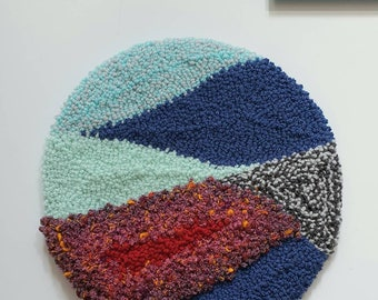Punch needle embroidery wall decor, textile art, hand tufted home decor, abstract style, boho decor