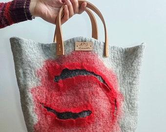 Felted boho handbag, wearable art bag, wet felted purse, OOAK handbag, wool bag, boho accessories, gift for her, original handmade purse