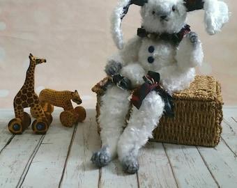 Artist teddy bear-OOAK doll-rabbit teddy-stuffed animal-vintage style toy-collectible teddy bear-home decoration-unique gift
