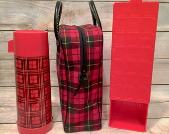 Vintage Aladdin Plaid Picnic Set with Thermos, sandwich box, and tote bag