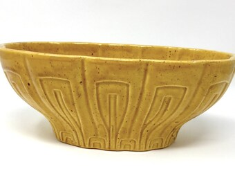 Vintage Haeger #17 Pottery Planter / Bowl, Mustard Yellow / Gold