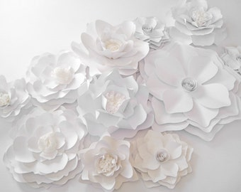 White paper flowers etsy 11 backdrop white paper flowers big paper flowers medium flower floral wall decor wall paper flower paper wedding decor centerpiece mightylinksfo