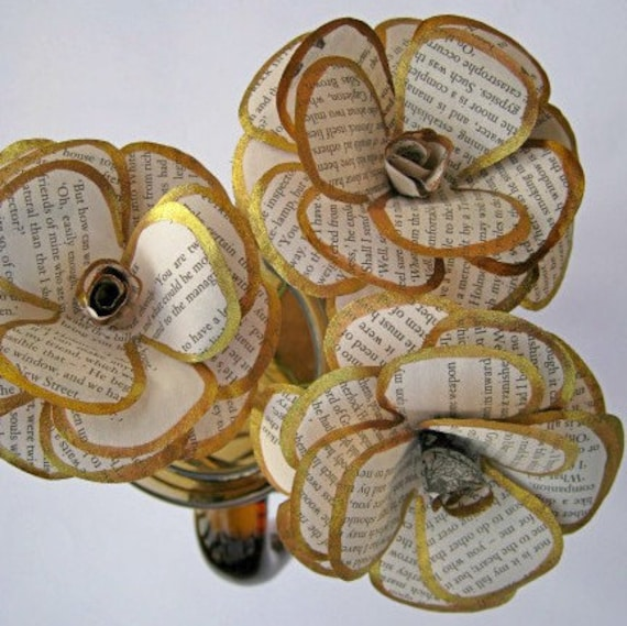 Set of 3 book page paper roses book paper flowers gold etsy image 0 mightylinksfo