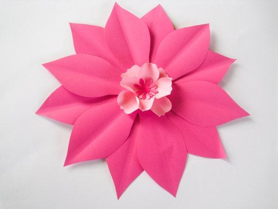 Pink paper flower pink wedding big flower big paper bloom etsy image 0 mightylinksfo