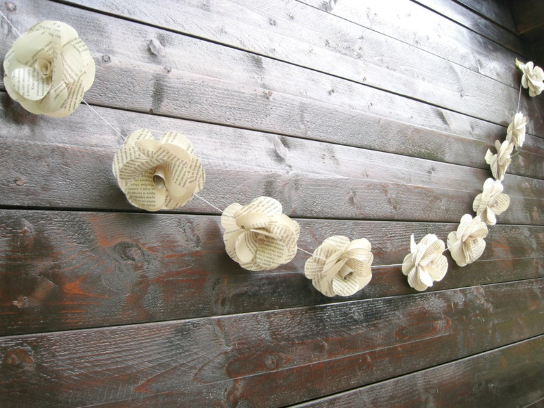 Ceremony Backdrop Paper Flower Garland Wedding Reception Decor Book Paper Garland Book Lover Gift Wedding Photo Prop Decor