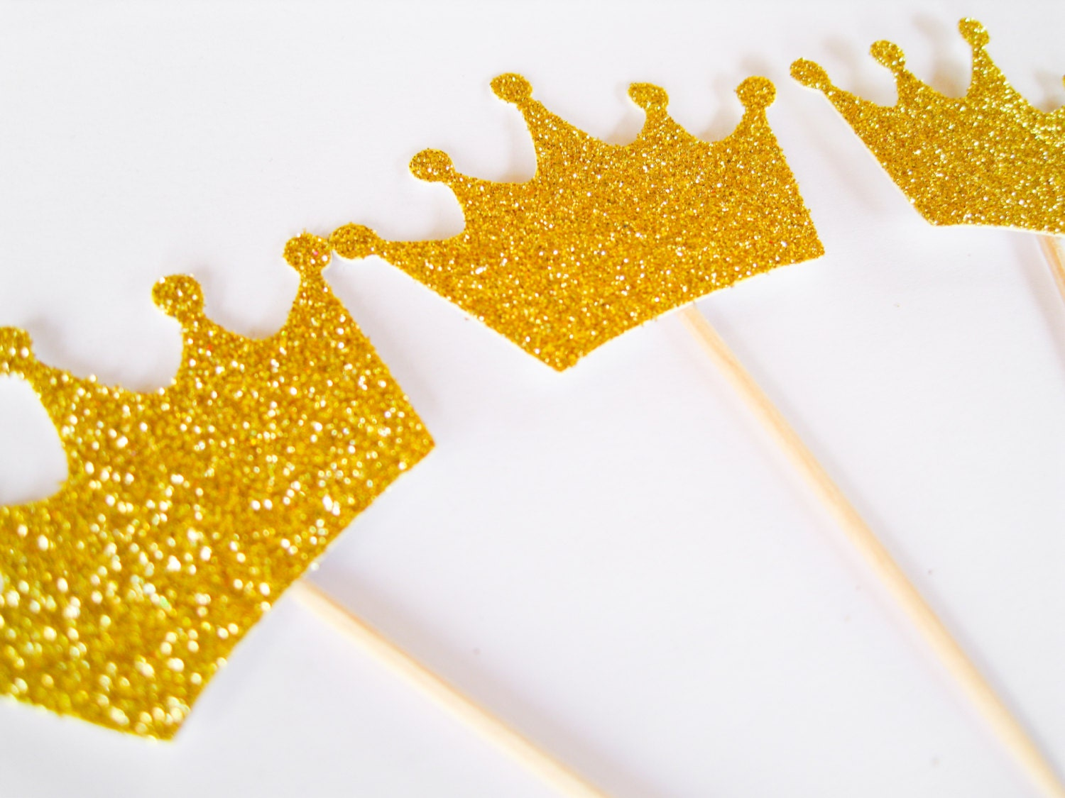 12 Gold Glitter Crown Cupcake Toppers First Birthday Cupcake | Etsy