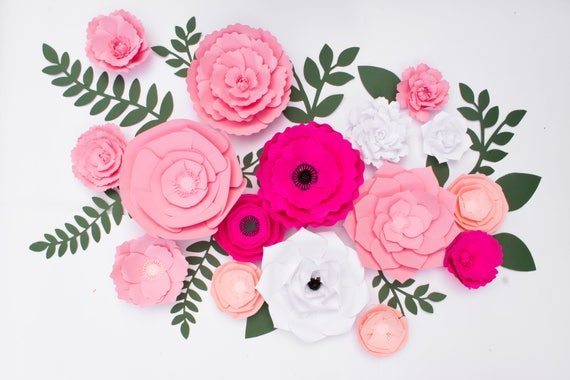 16 Wall Paper Flowers Wedding Backdrop Large Pink Flower Etsy