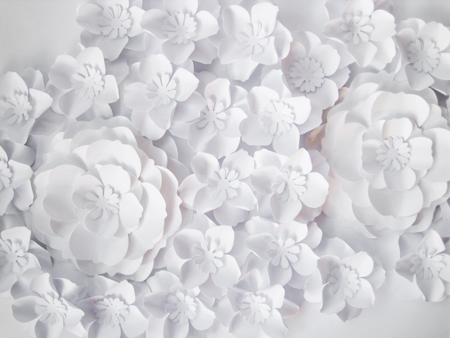 27 White Paper Flowers Backdrop Small Paper Flowers Nursery Flowers Large Paper Flowers Wall Paper Decor Wedding Backdrop Party Favors