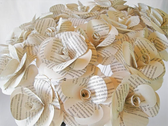 Set of 12 book page paper roses book paper flowers stem etsy image 0 mightylinksfo