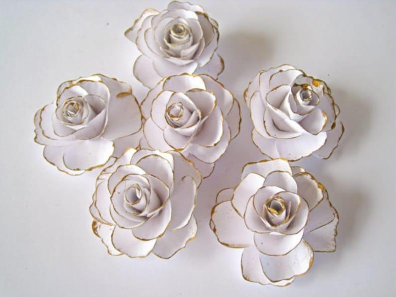 Small Paper Roses Bridal Shower Decor Table Centerpiece Flowers Nursery Flowers Paper Flowers with Stem Wedding Centerpiece Decor