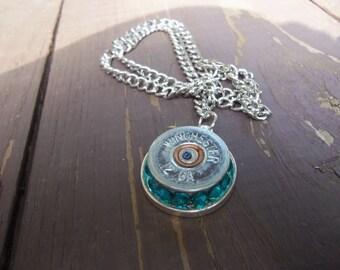 winchester 12g necklace with aquamarine Swarvoski crystals