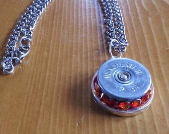 12 gauge winchester necklace with fire opal crystals