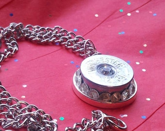 winchester 12g necklace with white crystals
