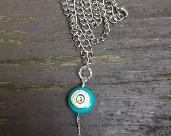 Turquoise and 45 auto bullet necklace with swarvoski crystal