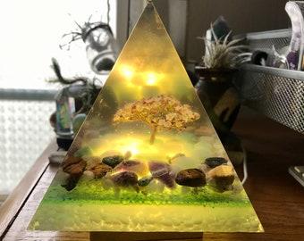 """Big pyramid with tiny """"tree"""" & crystals"""