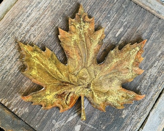 Fall leaf coaster decor in brown gold