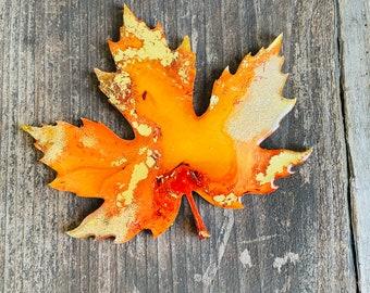 Fall leaf coaster decor in orange gold