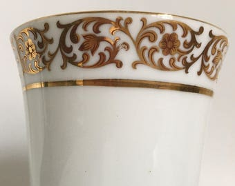 White Drinking Glass with Gold Leaf