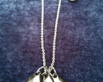 Gray Teardrop Chain Necklace and Earrings Set