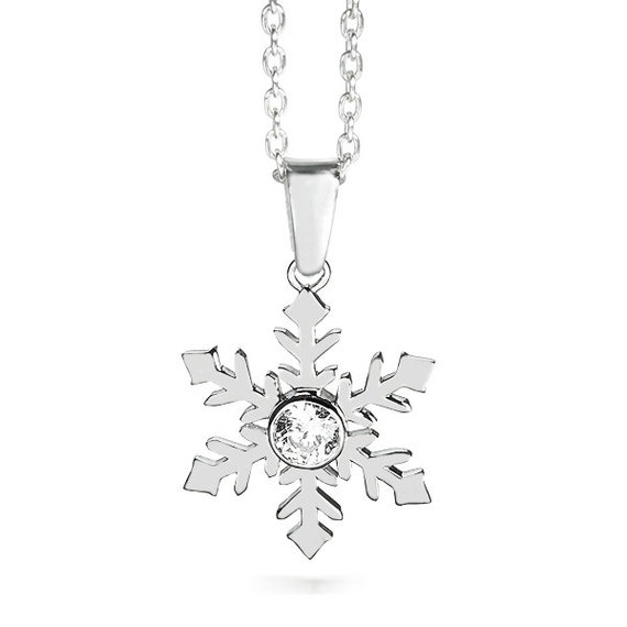 9ct Yellow Gold Snowflake CZ Gem Set Pendant for Necklace gift bag