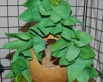All Natural Sugar Glider Toy- Hanging Gourd with Anti Pill Fleece Leaves