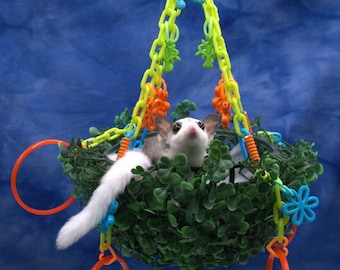 Sugar Glider Hanging Topiary Swing with 4 Bracelets and a Blankie Sugar Bear toy, Pocket Pet toy, Bird toy, small animal toy, exotic animal