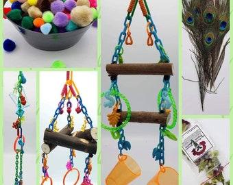 Medium Sugar Glider Enrichment Bundle-Sugar Glider Toy Sugar Bear toy, Pocket Pet toy, Bird toy, small animal toy, exotic animal toy