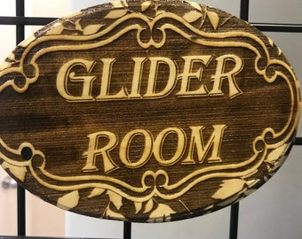 """Handmade """"Glider Room"""" Plaque - Wooden sign for your sugar gliders room"""