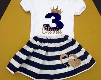 Girls 3 Year Old Birthday Outfit Third Three 3rd Blue And Gold Navy Stripes