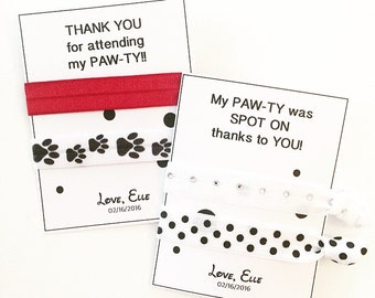 Birthday Party Favors | Dalmatian Birthday Favor | Ribbon Hair Tie Thank You Gift | Personalized