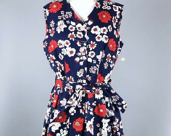 5b164dbc3 Vintage 60s Sears Womens Size Medium Floral Print Belted Casual Fit & Flare  Day Dress Deadstock/Unworn Red White Blue 1960s