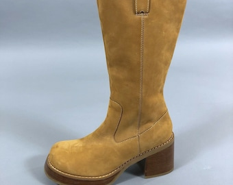 29408a169fa Vintage 90s Candies Womens Tan Nubuck Chunky Heel Mid Calf Boots Size 10M  1990s