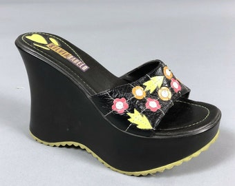 4c727d88a Vintage 90s Silvia Rabelo Womens Size 6 Black Leather Flower Power Platform  Wedge Sandals