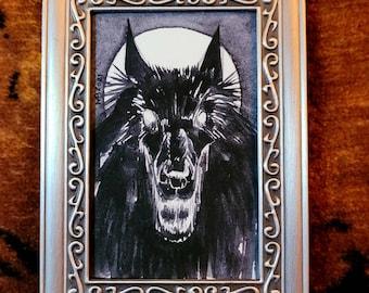 Framed Original - Black Dog - 2021
