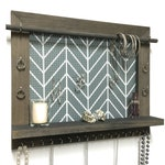 Jewelry Holder - Barnwood Wall Hanging Display Organizer With Shelf - Storage For Earrings Bracelets Necklaces And Rings