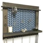 Large Jewelry Organizer / Wood Wall Shelf / Herringbone Wall Art