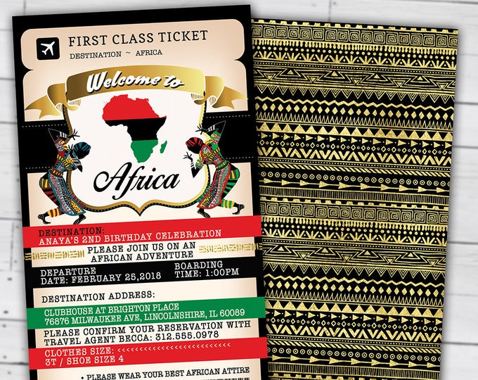 PASSPORT and TICKET Birthday invitation, Bridal Shower invitation, Africa Passport, African Birthday, African Birthday, Digital files only