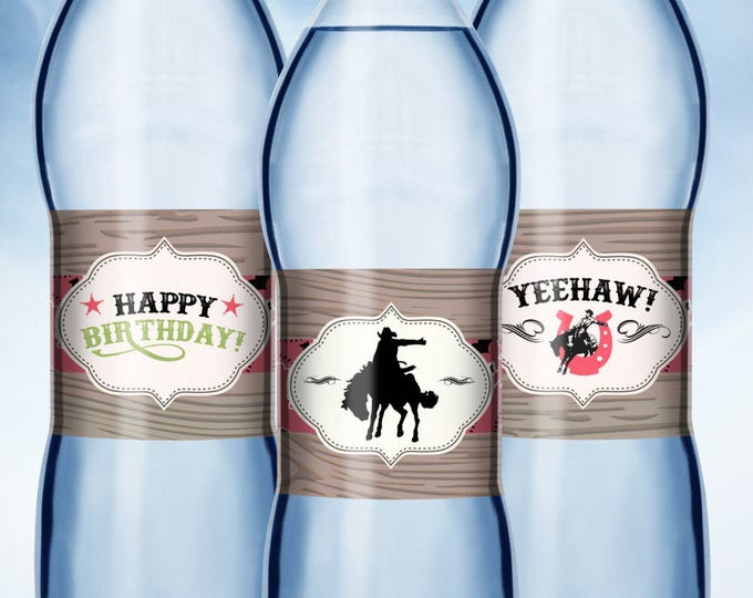 water labels, cowboy, cowgirl, rodeo, horse, western, labels, western birthday, vintage, country, horseback, label, Americana